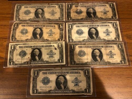 (7) 1923 Series $1 Silver Certificate,Funny Back Blue Seal,LOT of 7