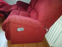 2 seater red fabric recliner couch or sofa. Must go