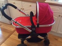 iCandy Pram / Pushchair (Peach model) in tomatoes red colour. Excellent condition plus accessories