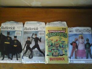 Costume Patterns Batman, Cat woman, Turtles and Mario Bros.