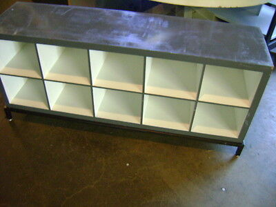 Retail Grey White Cube Storage Display Table Cabinet Set 2