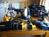 Ryobi One used 18v Tradesman set with 5 batteries & 5 Tools