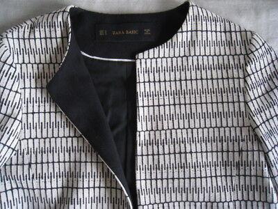 ZARA BASIC Women's Long Blazer, Jacket, Two Pockets, Lined, Grey & White, sz M   for sale  Brooklyn