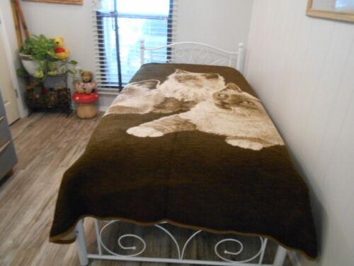 Vintage San Marcos Blanket Reversible Kittens 66