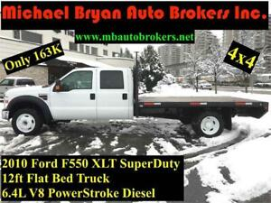 2010 FORD F550 12FT FLAT BED **4X4** 6.4L DIESEL *GREAT PRICE*