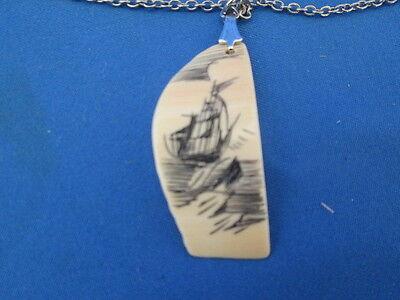 """Authentic Vintage Scrimshaw Ship Pendant Necklace 18"""" Silver Tone Chain W/ Paper"""
