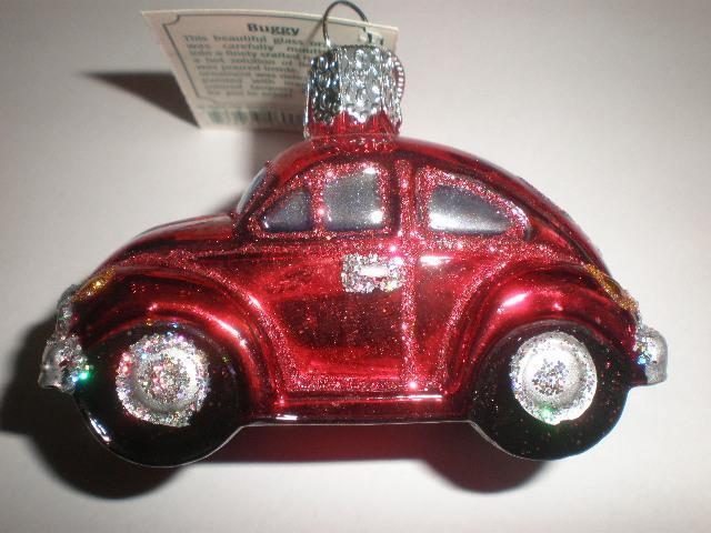 RED BUG VW VOLKSWAGEN CAR AUTO OLD WORLD CHRISTMAS GLASS ORNAMENT NWT 46002