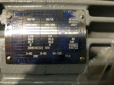 New Teco 20hp 1800rpm 230460v 256t Tefc