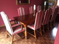 Stunning, bespoke medium oak dining table and 8 chairs. First to see will buy!