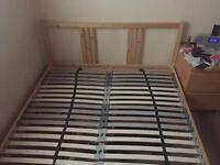 Ikea Double bed frame plus slats, £80