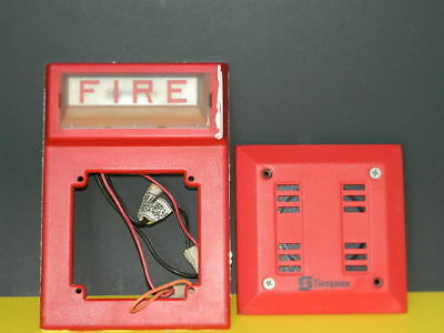 Simplex 4903-9101 Fire Alarm Red Horn 2901-9840 Strobe Wall Mount Combo