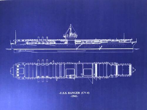 USN Aircraft Carrier USS Ranger CV4 1941 Blueprint Ships Plan 20x27 (037)