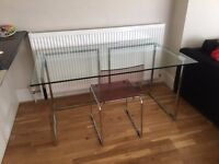DESK - cool glass top, metal legs, clear chair all for £150 (bought from Heals for £650)