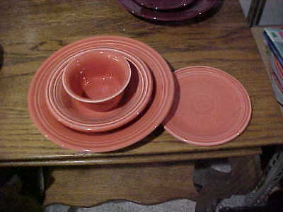 4 LOT Fiestaware Persimmon Fiesta Rim soup, cereal bowl, b&b plate, bouillon NEW Rim Bouillon