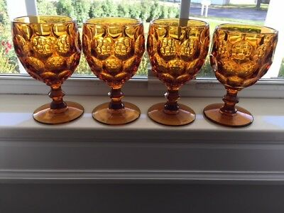 IMPERIAL PROVINCIAL Amber water glasses/goblets (4) EXCELLENT