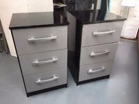 2 x BRAND NEW high gloss black and grey bedside cabinets.