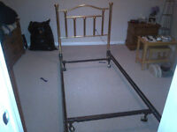Twin Bed with Frame, Brass Headboard, Boxspring & Mattress