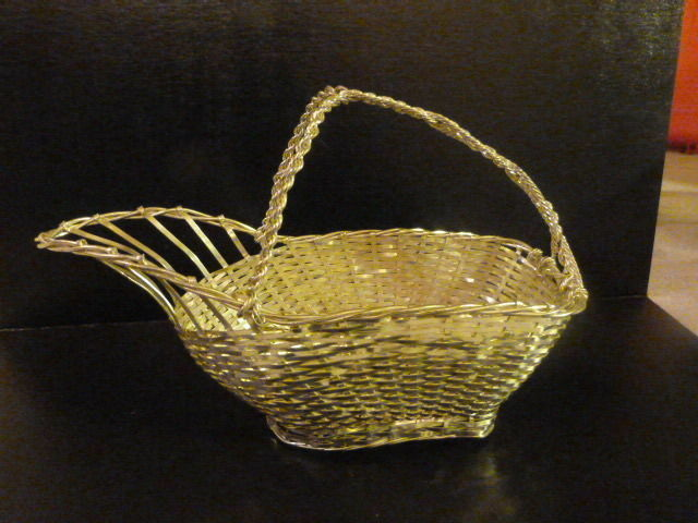 """VINTAGE Silverplate Silver Plated Woven Wire Wine Basket 10"""""""