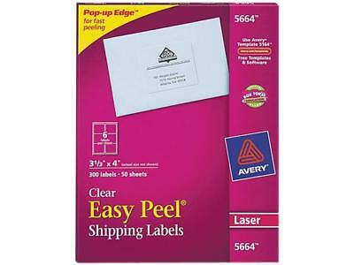 Avery 5664 Easy Peel Laser Mailing Labels 3-13 X 4 Clear 300box