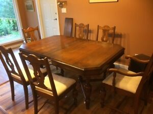 Dining Table and 6 Chairs.  Solid Walnut.