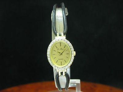 Le Bijou 14kt 585 Gold Damenuhr mit Brillant Besatz / Kaliber Eta 976.001