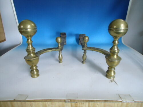 Antique 18th C. left & right  ball top brass andirons