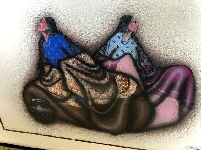 "ROBERT REDBIRD iconic large original watercolor. Titled ""Kiowa Beauty"""