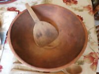 WONDERFUL OLD DOUGH BOWL WITH BUTTER PADDLE, IN EXCELLENT CONDI