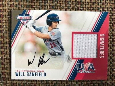 WILL BANFIELD Marlins 2018 Panini Stars & Stripes USA Baseball Jersey Auto /299 image