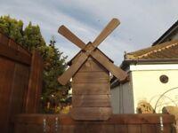 Wooden Windmill Planter Ornament
