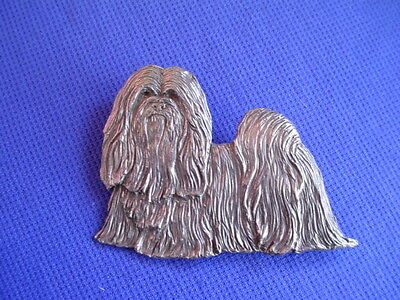 Lhasa Apso pin Standing #25B Pewter Dog Jewelry b Cindy A. Conter non sporting