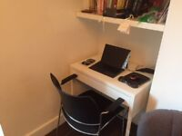 Small Ikea white office desk and chair