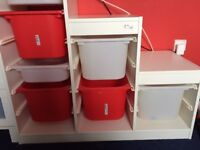 Ikea Kids storage unit (white) complete with red and white boxes