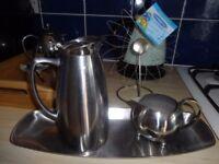 Vintage - Coffee pot, milk jug, tray from