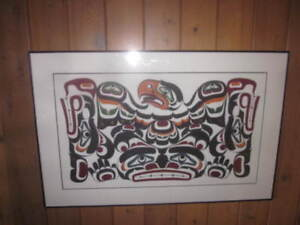 """Signed Original """" Eagle and Sisiutl """" painting"""