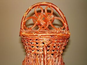 PEACOCK vintage wicker Wall Pocket Basket – very beautiful Cambridge Kitchener Area image 3