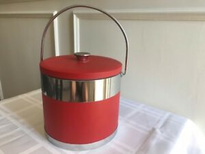 Mid Century Red Leather & Chrome Ice Bucket
