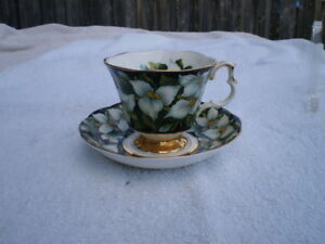 Royal Albert Black Porcelain Trillium Tea Cup and Saucer