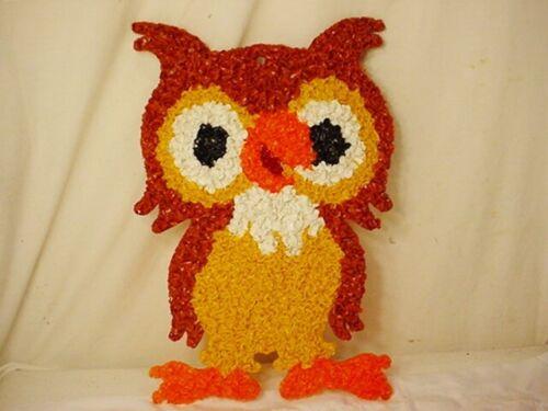 "Vtg Melted Popcorn Plastic OWL Night Bird Decor Thanksgiving Halloween 10""x16"""
