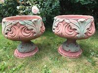 Pair Pretty Acanthus Stone Garden Planter Urns Stone On Plinths