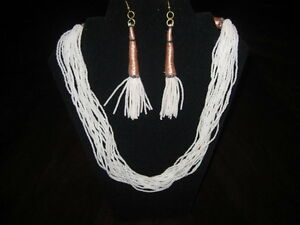 Brand New White Beaded Necklace and Earrings Set!