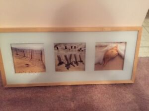 Mint wood framed beach collage