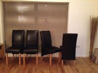 Reluctant sale due to house move. Four brown leather/oak dining room chairs