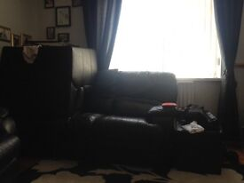 Sofa, 3 seat, Black-Good Condition, great price-must go!