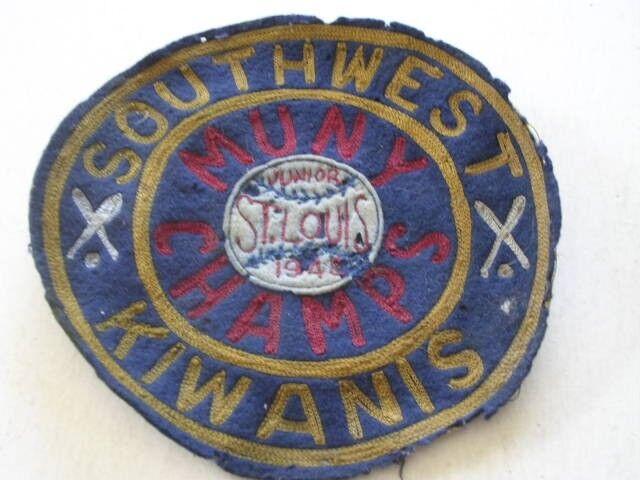 """1948 Southwest Kiwanis Junior Muny Baseball Champs St Louis MO 6"""" Wool Patch"""