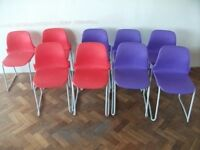 9 Stackable Chairs .Purple and red colour .