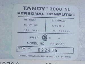 Vintage Tandy 3000NL