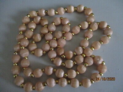 60s -70s Jewelry – Necklaces, Earrings, Rings, Bracelets Vintage 1960's  Champagne Coloured Silk Thread Covered Necklace 70cm $16.62 AT vintagedancer.com