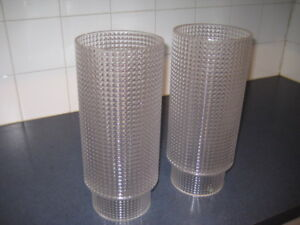 VINTAGE PAIR TABLE GLASS SHADE SWEDEN