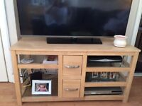 TV stand with shelves and drawers